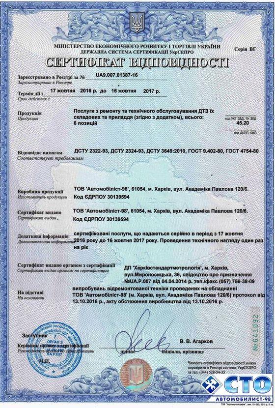 Сертификат СТО Автомобилист 98